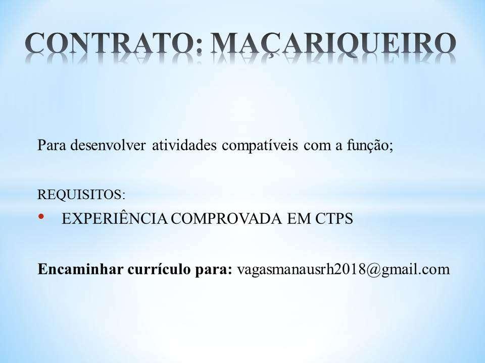ABASTECEDOR DE TINTAS – AUXILIAR DE MATERIAIS pcd – LÍDER DE PRODUÇÃO – MACARIQUEIRO