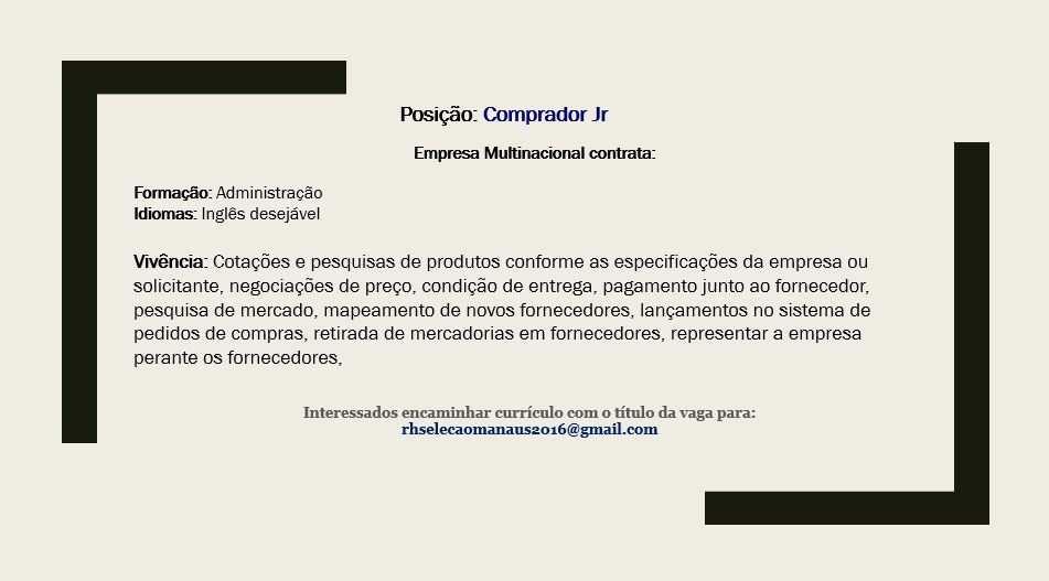 CONFEITEIRO – COPEIRA – FERRAMENTEIRO – COMPRADOR JR