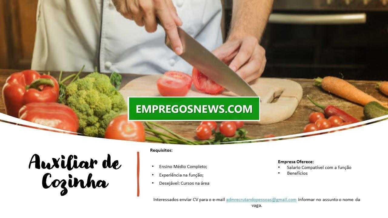 empregos news vagas de emprego 2 - Vaga aberta com início imediato para Auxiliar de cozinha
