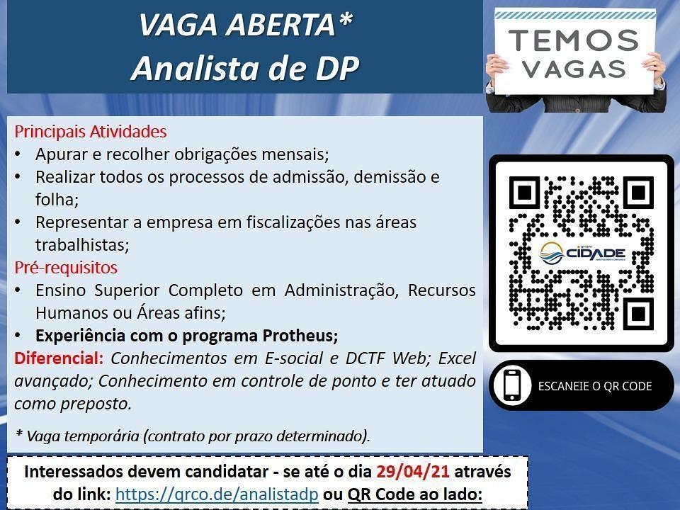 IMG 20210427 155232 294 - Grupo Cidade está com vaga aberta para Analista de DP