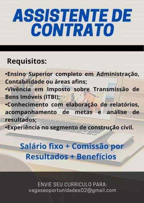 vg para assistente de contrato - Empresa abre vagas para Assistente de Contrato